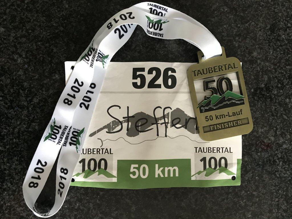 Urkunde 50km 5. Taubertal100 Ultramarathon